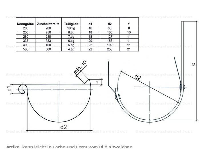 zink rinnenboden universal 7 tlg 280 dachrinne und fallrohre rinnenboden. Black Bedroom Furniture Sets. Home Design Ideas