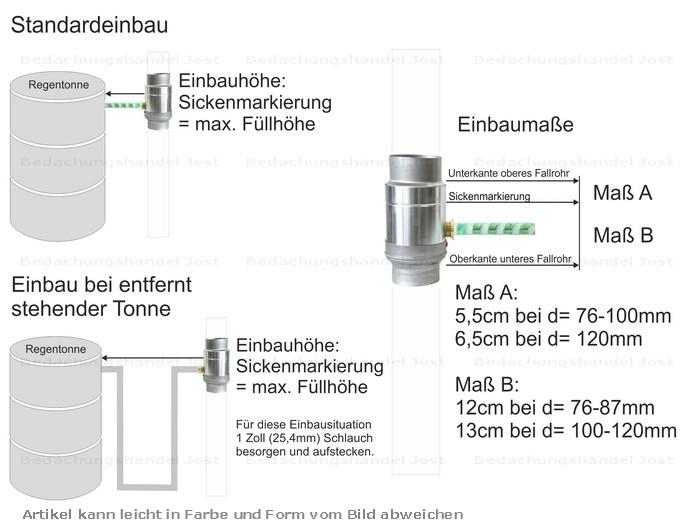 Dachrinne fallrohr zink  Zink Fallrohr Regensammler mit Schlauch d=87mm frostsicher ...