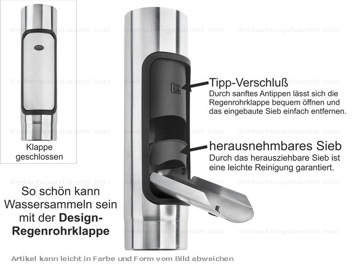 Dachrinne fallrohrbogen  Zink Fallrohr Design Regenrohrklappe d=100mm mit Sieb Dachrinne ...